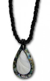 Abalone and Freshwater Clam Teardrop Necklace