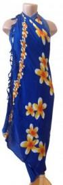 Flower Sarong - Plumeria/Blue