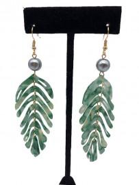 Fuax Turtle Shell Palm Leaf Design Earrings - Green