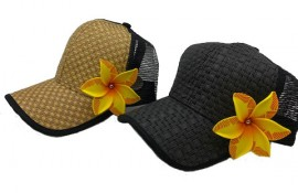 Brown or Black Cap with Yellow Flower