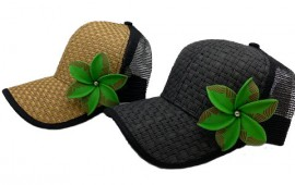 Brown or Black Cap with Green Flower