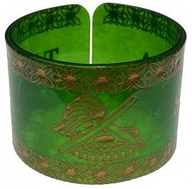 Samoan Style Faux Turtle Shell Bracelet - Green